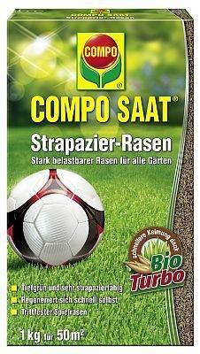 COMPO SAAT® Strapazier-Rasen, hochwertige Rasensamen-Mischung, für Rasen der wenig anfällig für Rasenkrankheiten ist, 1 kg für 50 m2