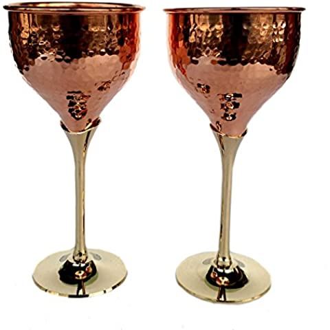 Rastogi artigianali in rame puro bicchiere di vino vino whisky Cocktail calice tavola bar hotel ristoranti Serving Set di (2)
