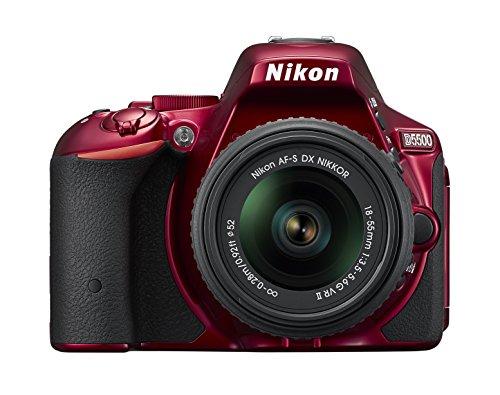 Nikon D5500 SLR-Digitalkamera (24,2 Megapixel, 8,1 cm (3,2 Zoll) Touchscreen-Display, 39 AF-Messfelder, ISO 100-25.600, Full-HD-Video, Wi-Fi, HDMI) Kit inkl. AF-S DX 18-55 VR II Objektiv rot (Nikon D5500 Slr)