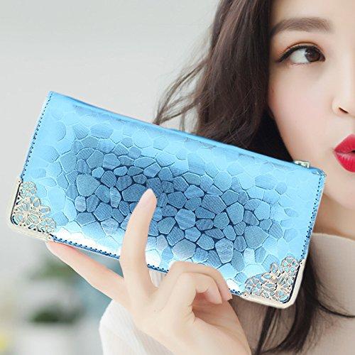 SHISHANG Lady gold lange Geldbörse Steinmuster Trend der Mode Frauen Geldbeutel Geldbörse multicolor , blue belt chain