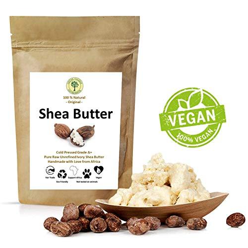 Grüne Valerie - Ivory Karite Shea Butter - Kaltgepresst (Grad A+) pur, rein, frische und unrafinierte 250 g im Frischepack - Das Beste vegane Hautpflegeprodukt aus dem fairen Handel -