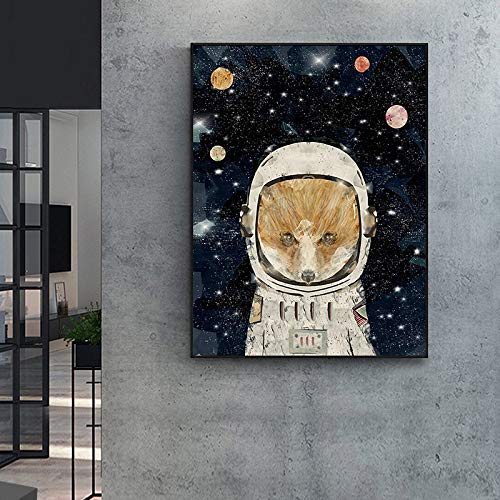 Geiqianjiumai Globo Lienzo Arte de la Pared Planeta Espacio Astronauta Imprimir póster nórdico Animal...