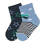 Sterntaler ABS-Söckchen, Doppelpack, Flieger/Sterne-Motiv, Alter: 3-4 Jahre, Größe: 25-26, Himmelblau