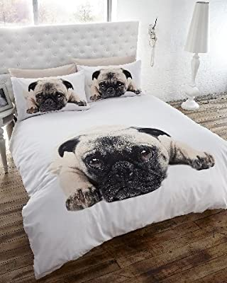 Pug Photo Print Duvet Cover Bedding Set
