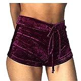 Hosen Damen Kolylong® Frauen Samt hohe Taille Sport kurze Hosen Sommer Strand Shorts Hot Pants LoseYoga kurze Hose (M, Wein)