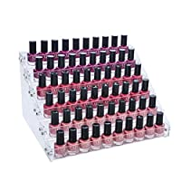 Gospire 66 Bottles of 6 Tier Acrylic Nail Polish Display Rack Stand Holder Jewelry Makeup Organizer
