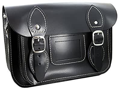 100% Genuine Leather Satchel for Women - Handmade in Spain - Black (compact size)