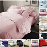 Highliving Flat sheets Percale Plain Dyed Poly Cotton Single Double King size (Double, Baby Pink)