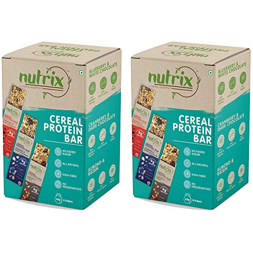 NUTRIX Variety Pack Cereal Protein Bar For Men, Women & Kids 240 Gm Box – 6 Pc, 40 gm Energy Bar (Pack of 2)