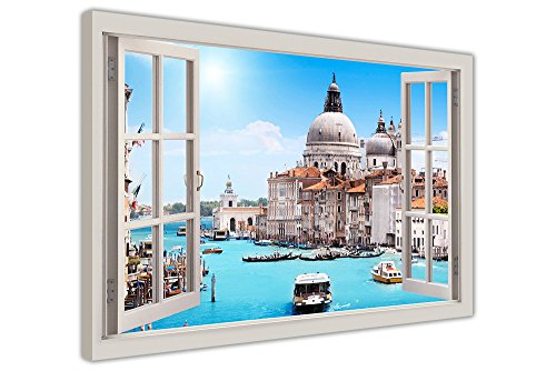"Italien Venedig Bilder Fenster Bay Effekt River View gerahmt Wall Art Prints auf Leinwand Fotos, canvas holz, 04- 30"" X 20"" (76CM X 50CM)"