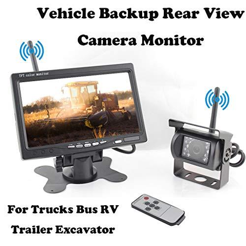 """htfrgeds Rückfahrkamera und Monitor Set Wireless Einparkhilfe mit 7\"""" Zoll LCD Farbdisplay Rear View Monitor und IP67 wasserdichte Kamera für Auto, Bus, Schulbus, Anhänger"""