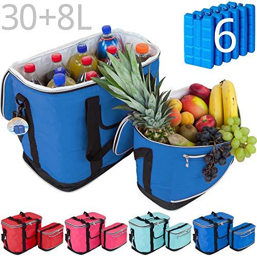 MABAMAHO Kühltaschen-Set Ibiza 30+8 Liter mit 6 Kühlakkus für Picknick, Grillen, Wandern, Ausflüge, Urlaub (5-Blau)