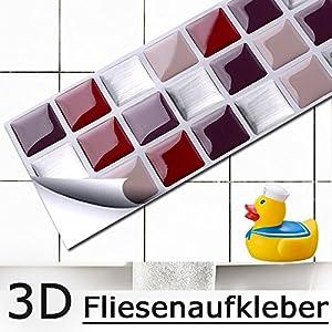 Grandora 4er Set 25,3 x 5,4 cm Fliesenaufkleber rot beige Silber I 3D Mosaik selbstklebend Fliesen Küche Bad Wandaufkleber Fliesendekor Folie Fliesensticker W5197