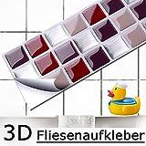 4er Set 25,3 x 5,4 cm Fliesenaufkleber rot beige silber Mosaik I 3D selbstklebend Fliesen Küche Bad Wandaufkleber Fliesendekor Folie Grandora W5197