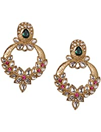 Young & Forever Valentine Gifts Special Ethnic Diva Collection Beautiful Pink & Green Crystal Designer Earrings...