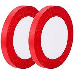 2 Rollos de Cinta de Satén de Una Cara Cinta de Tela de Artesanía para Embalaje de Regalo Favores de Boda, 10 mm por 25 Yardas, Rojo