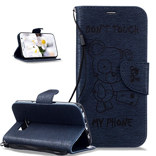 Coque Galaxy S7 Edge,Etui Galaxy S7 Edge,Gaufrage Tronçonneuse ours Don't Touch Py Phone Cuir PU Etui Housse Coque Portefeuille supporter Flip Case Etui Housse Coque pour Galaxy S7 Edge,Bleu marin