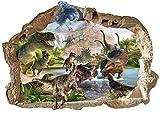 Dinosaurier-Wandaufkleber 3D entfernbare PVC-Hauptwanddekor-Jungen und Mädchen Schlafzimmer Playrooms T-REX Aufkleber-Tapeten-Abziehbilder für Kinderzimmer Jurassic Weltdinosaurier-Wandabziehbilder Art Extra Large 47cm X 71cm