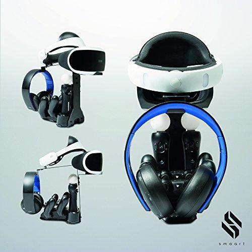 smaart® Playstation VR stand y estación de carga | El dock perfecto para el almacenamiento de su VR headset y accesorios (2 controladores de choque dual + 2 controladores de movimiento) | Incl. Adaptador de conexión rápida y pantalla LED para la indicación del estado de carga.