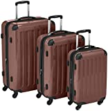 HAUPTSTADTKOFFER – Alex – Set of 3 Hard-side Luggages Glossy Suitcase Hardside Spinner Trolley Expandable (S, M & L) Brown