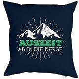 Dekokissen, Wandern Klettern Trekking Outdoor, Kissen mit Füllung für Bergfreunde und Bergsteiger - Auszeit ab in die Berge