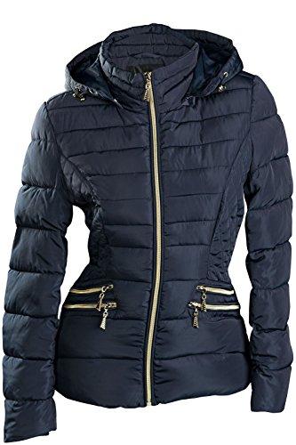 TOP Damen Winter Jacke KURZ STEPP DAUNEN Optik ÜBERGANGJACKE Kapuze Skijacke S M L XL XXL, Farbe:Dunkelblau;Größe:S
