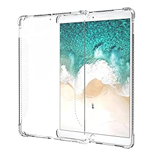 MoKo Case Fit New iPad Air 3 2019(3rd Generation 10.5 inch)/iPad Pro 10.5 2017, Shockproof Flexible TPU Skin Bumper with Corner Airbag Protector, Clear(Compatible with Official Smart keyboard/Cover)