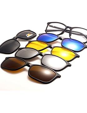 TIMWILL 5Pcs Lentes magnético Polarizado Clip-on Gafas de sol Hombres Mujeres Unisex TR90 Marco de plástico Night...