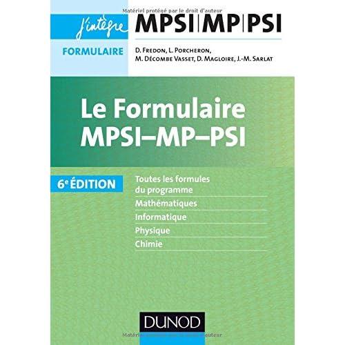 Le formulaire MPSI-MP-PSI - 6e éd.