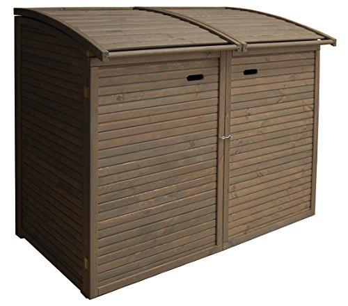 Andrewex Mülltonnenbox für 2Tonnen 156 x97 cm 240 Liter aus Holz Farbton:Grau Mülltonnenschrank...