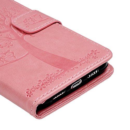 Coque iPhone X Mavis's Diary Étui Housse de Protection en Cuir avec TPU Silicone Portefeuille Étui à Rabat Fente de Carte Bookstyle Protection écran Flip Phone Case Cover Fermeture Magnétique Swag + C Rose