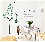 GalaxyComfort Black Tree Birds and Birdcage Third Generation Removable Pvc Wall Sticker - Multicolor