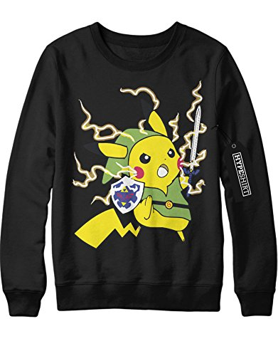 Sweatshirt Pokemon Go Pikachu Link Mashup Legend of Zelda Hyrule Mastersword Triforce Trainer Kanto Official Gym Leader X Y Nintendo Blue Red Yellow Plus Hype Nerd Game C123133 Schwarz M (Pokemon Misty Kostüm)