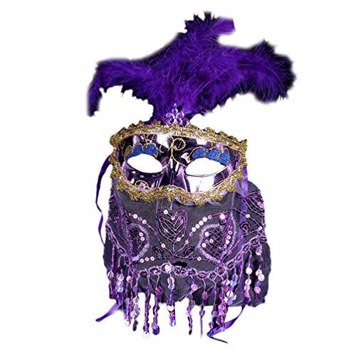Xinwcanga Halloween Designs Künstliche Feder-Maske mit Schleier-Maskerade-Maske für Venezianische Halloween-Party (Violett, One size)