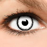 Farbige Kontaktlinsen  Vampir  in weiß + Kombilösung + Behälter - Top Linsenfinder Markenqualität, 1Paar (2 Stück)