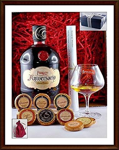 Geschenk Pampero Aniversario Reserva Exclusiva Rum mit 9 DreiMeister Edel Schokoladen & 1 Perfect Nosing Glas, kostenloser Versand