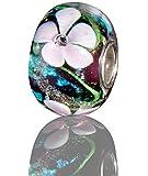 Andante-Stones 925 Sterling Silber Glas Bead Charm SEALIFE (Beere-Türkis mit zartrosa Blumen) Element Kugel für European Beads + Organzasäckchen
