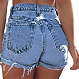 Estyle Fashion Damen Shorts Jeans Sommer Shorts Hohe Taille Hüftjeans Ripped Hotpants Kurze Hose Curling Blau C Size 2XL
