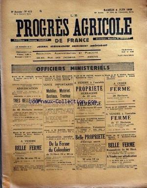 PROGRES AGRICOLE DE FRANCE (LE) [No 413] du 06/06/1959 - officiers ministeriels - paul daizac - brutus - agriculture par le bret et le francois - les marches - aviculture par gallus - machinisme agricole par marguerin - elevage par auger - causerie veterinaire par espouy - pisciculture par gallus - questions fiscales par dumas par Collectif