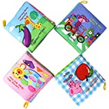 Coolplay Baby's Soft Cloth Book Non-Toxic Fabric Educational Books With Rustling Sound,Crinkle,BB Device Inside - Pack Of 4