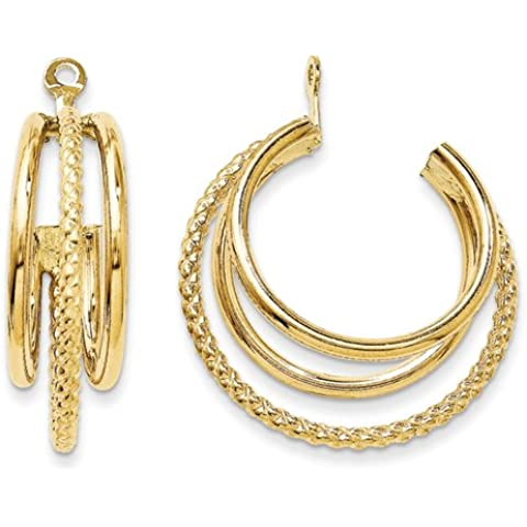 14k lucido e intrecciati triple Orecchino ad anello Giacche da UKGems - Polished & Twisted Triple Hoop Earring Jackets