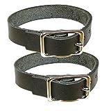 Befestigungsriemen 2er Pack - Lederriemen aus schwarzem Blankleder (30cm)