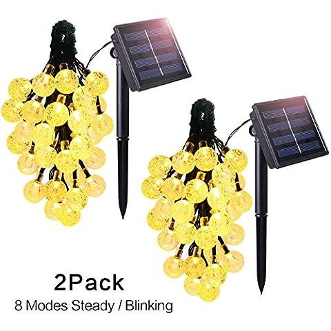 Hiluckey Guirnalda de Luces Solar Guirnalda Luminosa de Exterior 21ft 30 LED 6.5M Blanco Cálido Bolas de Cristal Para Decoración de Navidad, Jardín, Patio, Fiesta, Dormitorio, Reunión Familiar [Clase de eficiencia energética A+++]