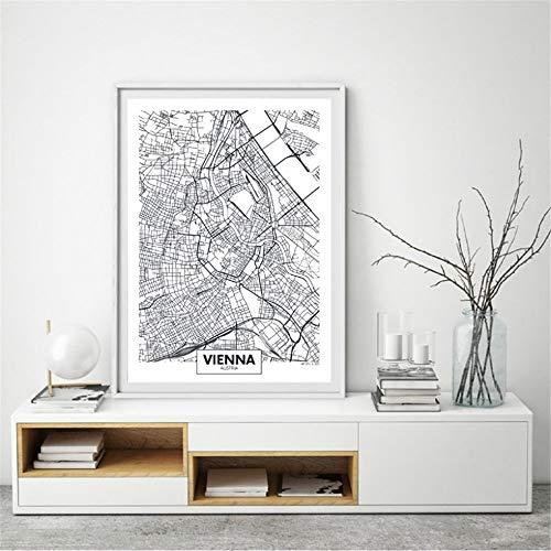 Rjjwai Wien Stadtplan Poster Leinwand Kunstdrucke Moderne Minimalistische Kunst Malerei Schwarz/Weiß Bild Für Wohnzimmer Wand Kunst Dekor Schlafzimmer 60x90cm