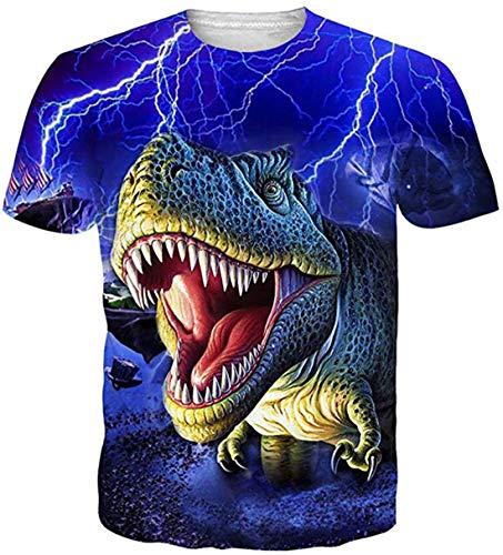 Jungen Kurzarm-dinosaurier (uideazone Mens Frauen Dinosaurier T-Shirts Kurzarm 3D Druck T-Shirts Cool S)