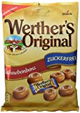 Werther's Original Sahnebonbons zuckerfrei – Schmackhafte Karamellbonbons ohne Zucker zum Naschen für dieganze Familie – (12 x 70g Packung)