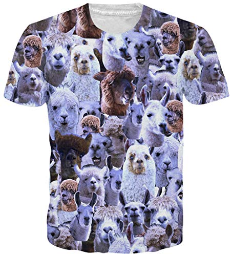 Loveternal Unisex 3D Alpaka Druck T-Shirt Casual Grafik Tee Shirt XL - Herren Alpaka