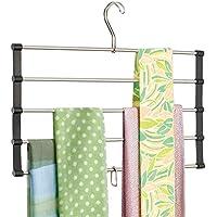 mDesign percha para pañuelos - Práctico colgador de pañuelos con 4 barras para colgar sus chales - Elegante organizador de ropa en color negro