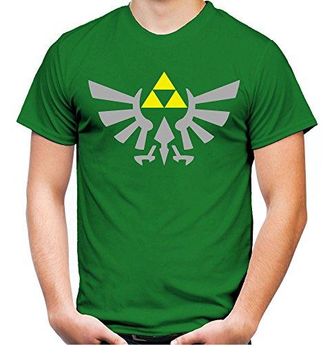 Zelda Triforce Männer und Herren T-Shirt   Link Nintendo Geschenk   Druck Silber (S, Grün)