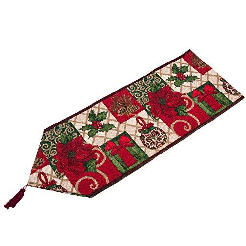 Chemin de Table Polyester et Coton Rouge Décorations de Table 180x33cm